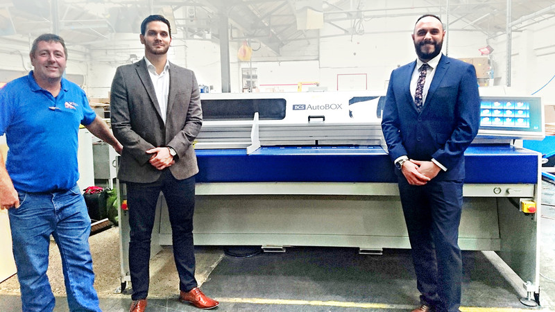 Eugene Ward & Arran Sethi from BCS-Autobox with Ashley Power, Production Manager at ASC Carton Ltd